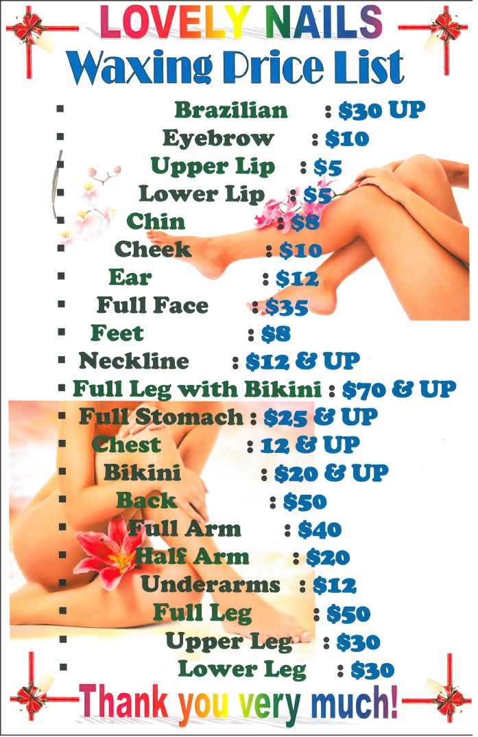 Waxing Price List